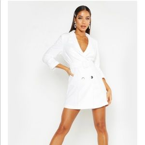 White tailored belted blazer dress